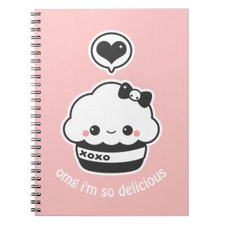 Kawaii Hugs and Kisses Cupcake Spiral Notebooks
