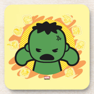 Kawaii Hulk With Marvel Hero Icons Coaster