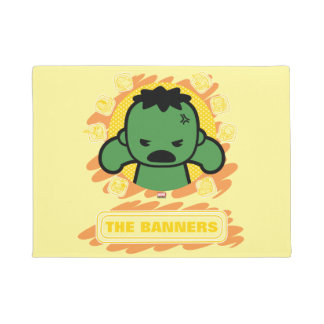 Kawaii Hulk With Marvel Hero Icons Doormat