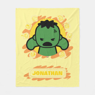 Kawaii Hulk With Marvel Hero Icons Fleece Blanket