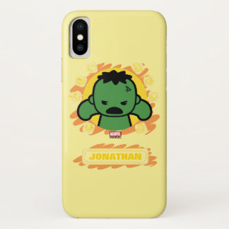Kawaii Hulk With Marvel Hero Icons iPhone X Case