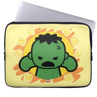 Kawaii Hulk With Marvel Hero Icons Laptop Sleeve