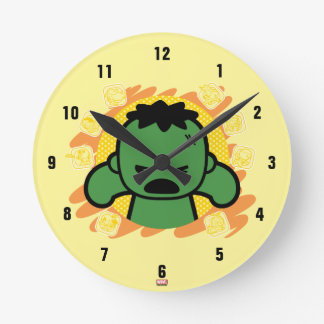 Kawaii Hulk With Marvel Hero Icons Round Clock