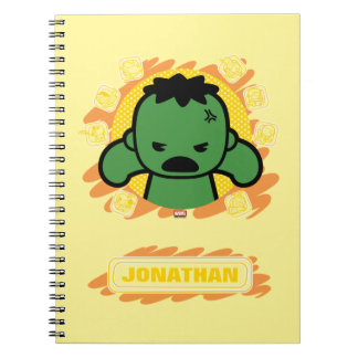 Kawaii Hulk With Marvel Hero Icons Spiral Notebook