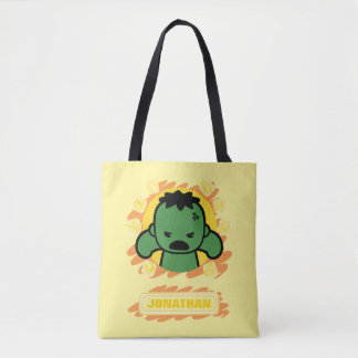Kawaii Hulk With Marvel Hero Icons Tote Bag