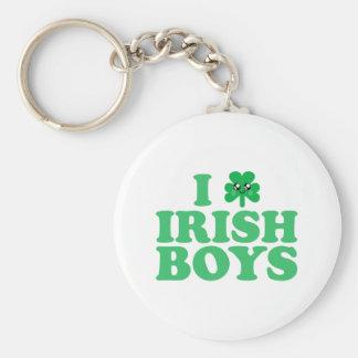 KAWAII I LOVE IRISH BOYS SHAMROCK HEART LUCK IRISH BASIC ROUND BUTTON KEY RING