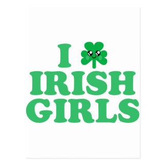 KAWAII I LOVE IRISH GIRLS SHAMROCK LUCK POSTCARD