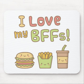 Kawaii I Love My BFFs Burger French Fries Soda Mouse Pad