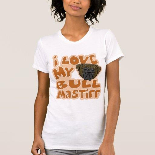 Kawaii I Love My Brindle Bullmastiff T-shirt