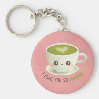 Kawaii I Love You So Matcha Puns For Her Keychain