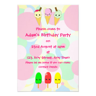 Kawaii Ice Cream and Popsicles Children s Party Custom Announcements