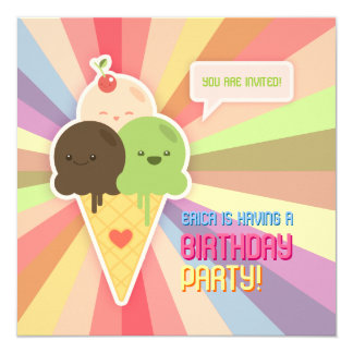 Kawaii Ice Cream Birthday Party Invitation