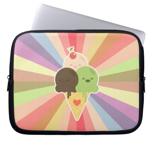 Kawaii Ice Cream Cartoon Laptop Sleeve