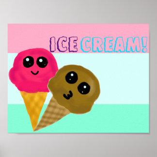 Kawaii Ice Cream Cones Poster