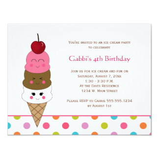Kawaii Ice Cream Party Invitations