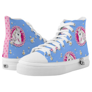 Kawaii inspired blue unicorn butterflies sneakers