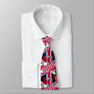 Kawaii inspired pink punk Union Jack emoji Tie