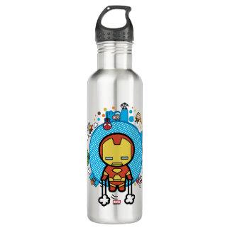 Kawaii Iron Man With Marvel Heroes on Globe 710 Ml Water Bottle
