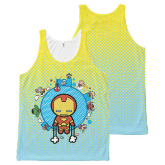 Kawaii Iron Man With Marvel Heroes on Globe All-Over Print Singlet