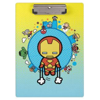 Kawaii Iron Man With Marvel Heroes on Globe Clipboard