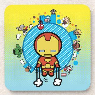 Kawaii Iron Man With Marvel Heroes on Globe Coaster