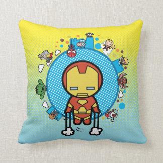 Kawaii Iron Man With Marvel Heroes on Globe Cushion