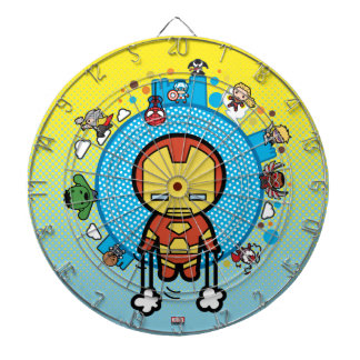 Kawaii Iron Man With Marvel Heroes on Globe Dartboard