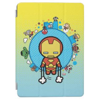 Kawaii Iron Man With Marvel Heroes on Globe iPad Air Cover