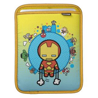 Kawaii Iron Man With Marvel Heroes on Globe iPad Sleeve