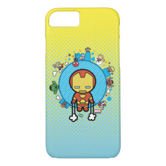 Kawaii Iron Man With Marvel Heroes on Globe iPhone 8/7 Case