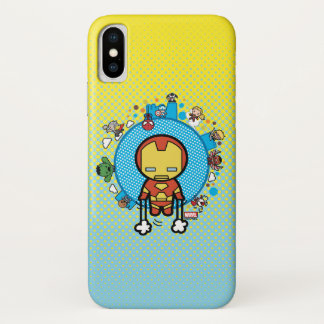 Kawaii Iron Man With Marvel Heroes on Globe iPhone X Case