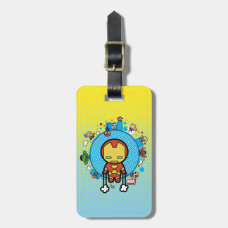 Kawaii Iron Man With Marvel Heroes on Globe Luggage Tag