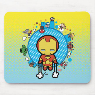Kawaii Iron Man With Marvel Heroes on Globe Mouse Pad
