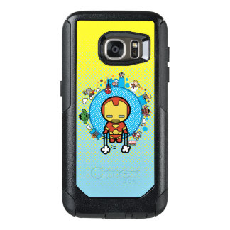 Kawaii Iron Man With Marvel Heroes on Globe OtterBox Samsung Galaxy S7 Case