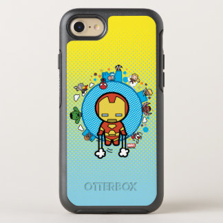 Kawaii Iron Man With Marvel Heroes on Globe OtterBox Symmetry iPhone 8/7 Case
