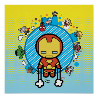 Kawaii Iron Man With Marvel Heroes on Globe Poster