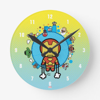 Kawaii Iron Man With Marvel Heroes on Globe Round Clock