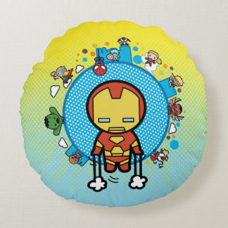 Kawaii Iron Man With Marvel Heroes on Globe Round Cushion