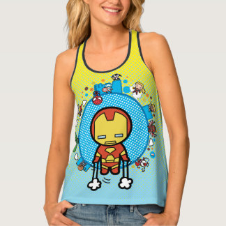 Kawaii Iron Man With Marvel Heroes on Globe Singlet