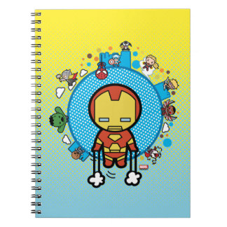 Kawaii Iron Man With Marvel Heroes on Globe Spiral Notebook