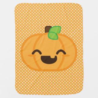 Kawaii Jack O Lantern Pumpkin Baby Blanket