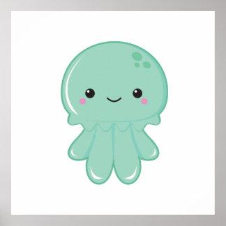 Kawaii Jellyfish Poster