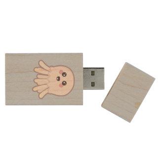 Kawaii Jellyfish Wood USB 3.0 Flash Drive