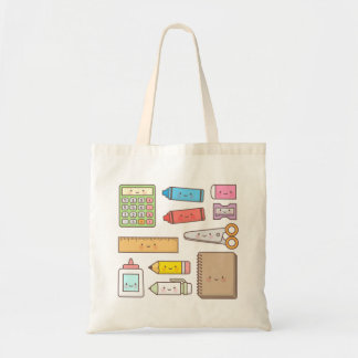 Kawaii Kids Back to School Supplies Tote Bag