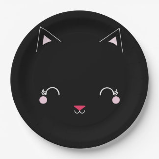 kawaii kitty CAT BIRTHDAY party plate BLACK 9 Inch Paper Plate