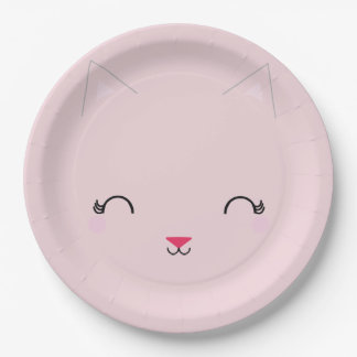 kawaii kitty CAT BIRTHDAY party plate PINK 9 Inch Paper Plate