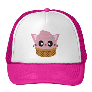 kawaii kitty cone ice cream cat meow cap