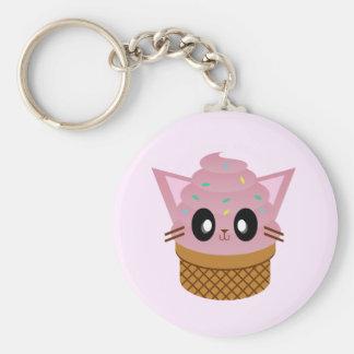 kawaii kitty cone ice cream cat meow basic round button key ring