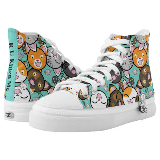 Kawaii Kitty Faces Top ZipZ Tennis Shoes