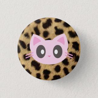 kawaii kitty leopard print 3 cm round badge